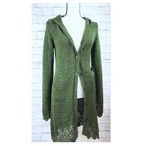 BCBGMaxAzria Long Button Green Cardigan with Hood